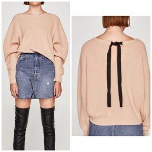 Zara dolman sleeve sweater with black ribbon, S